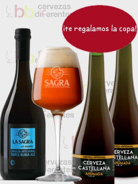 La Sagra copa 3 botellas 75 cl cervezas diferentes