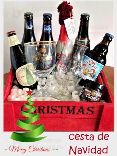 CESTA DE NAVIDAD con copas_cervezas_diferentes