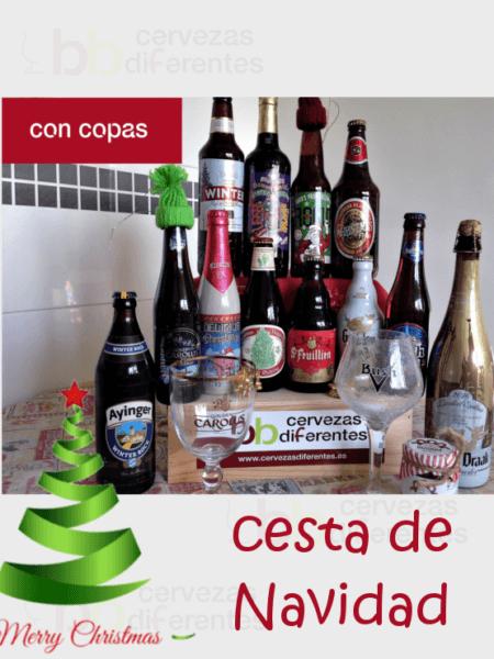 PACK CESTA DE NAVIDAD con copas cervezasdiferentes