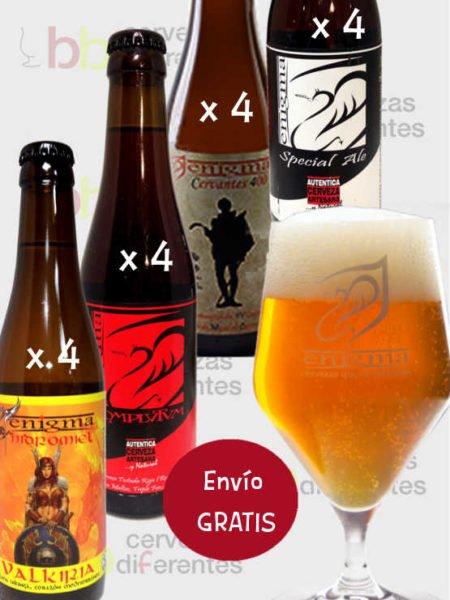 ENIGMA pack 16 botellas copa y envio grais cervezas diferentes