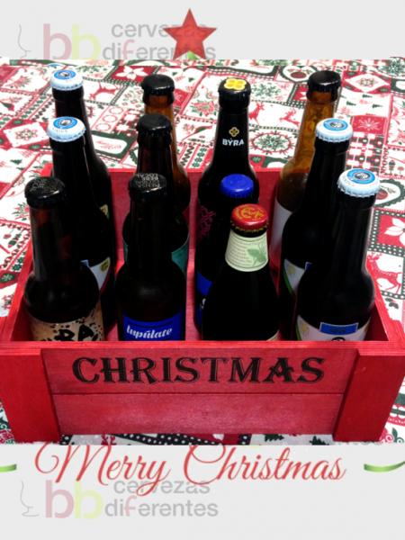 Caja madera roja christmas_12 botellas_2_regala cervezas diferentes