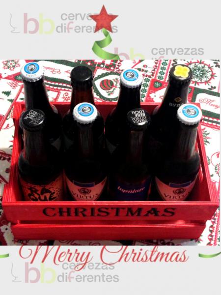 Caja madera roja christmas_8 botellas_2_regala cervezas diferentes