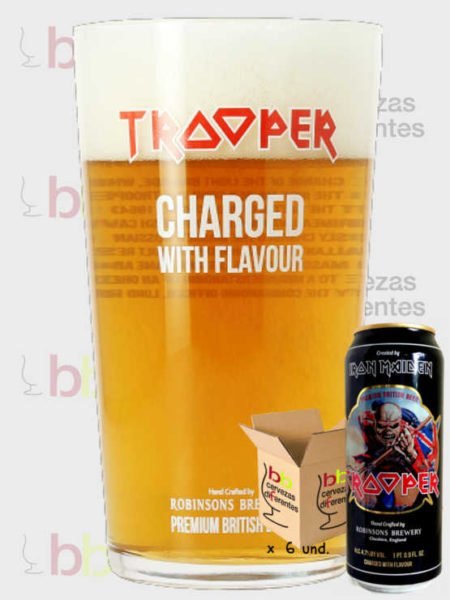 Trooper inglesa vaso pack latas cervezas diferentes