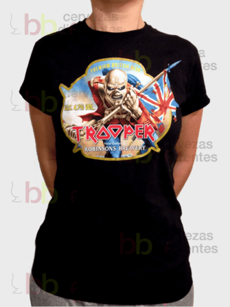 Iron Maiden Trooper Beer_camiseta woman L_cervezas diferentes
