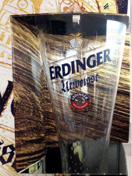 ERDINGER URWEISSE estuche vaso cervezas diferentes