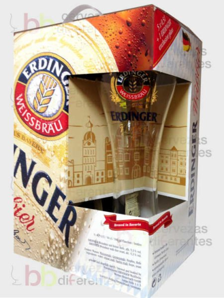 ERDINGER WEISSBER estuche vaso cervezas diferentes