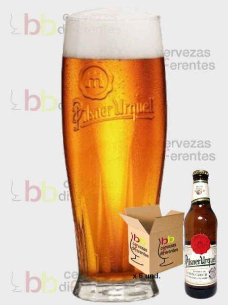 Pilsner Urquell lote de 6 con vaso_checa_cervezas diferentes