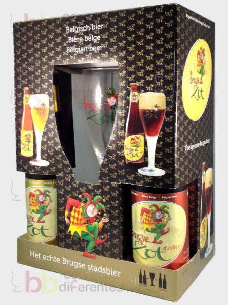 Brugse Zot_estuche para regalo_4 botellas y 1 copa_2_cervezas diferentes
