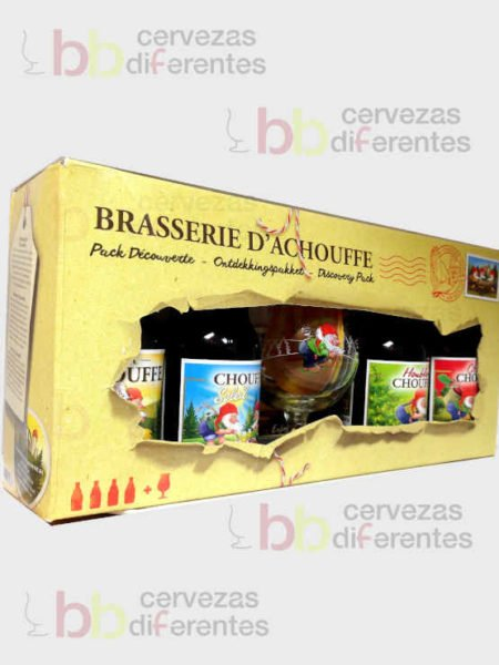 La Chouffe estuche regalo 4 botellas y 1 copa _belga_regala cervezas diferentes